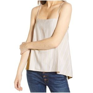 LEITH Button Back Camisole Beige/White Size Small